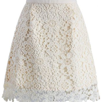 Delicate Flower Crochet Skirt in Beige