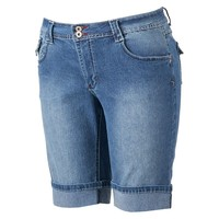 Angels Embroidered Bermuda Shorts - Juniors' Plus, Size: