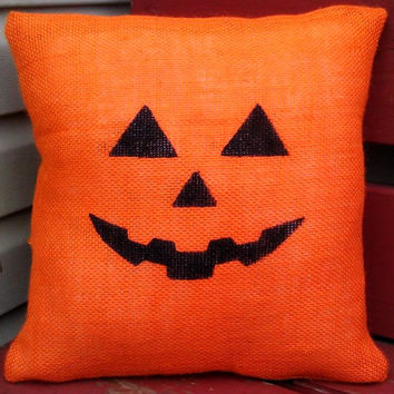 Jack-O'-Lantern Orange Burlap Pillow OR Just the Pillow Cover, Halloween Decor, Pumpkins, Orange **FREE SHIPPING**