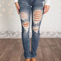 Machine Low Rise Distressed Jeans