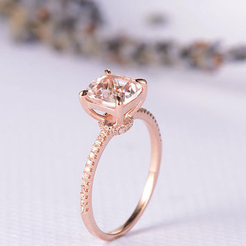 Rose Gold Engagement Ring Morganite Ring Wedding Bridal Solitaire Eternity Ring Cushion Cut Anniversary Gift Promise Birthday Women Ring