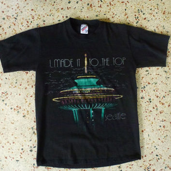 Seattle Space Needle 1980s vintage black tee shirt  by sideburns