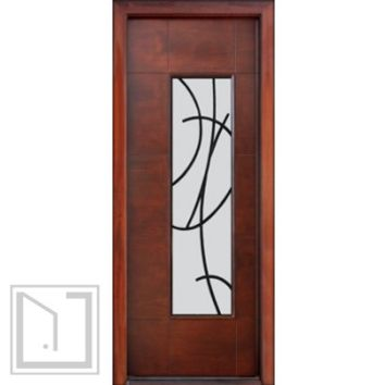 Prehung Low-E Single Door, Wind-load Rated, Modern Sandonato Ironwork