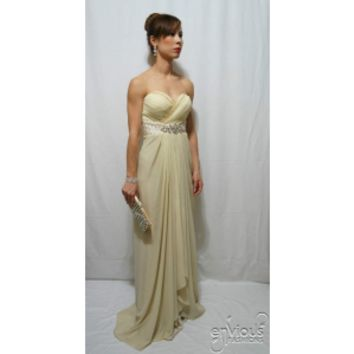 ELIZABEITA | Strapless Beige Evening Gown