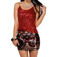 Red Sequin And Chain Strap Top