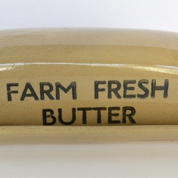 "Vintage English Black Transfer Printed "" Farm Fresh Butter "" Covered Butter Dish Transferware Advertising"