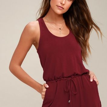 Extracurricular Burgundy Romper