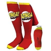 Big Bang Theory Red Bazinga Caped Socks, Red, One Size