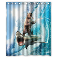 Gunned Bear Riding Shark Shower Curtain