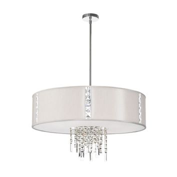 Dainolite 4 Light Pendant with Crystal Accents, Polished Chrome, Silk Glow Pearl Drum Shade