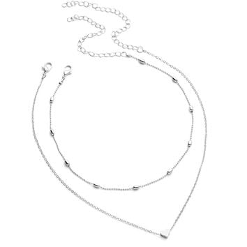 Heart Pendant Chain Necklace With Beaded Choker