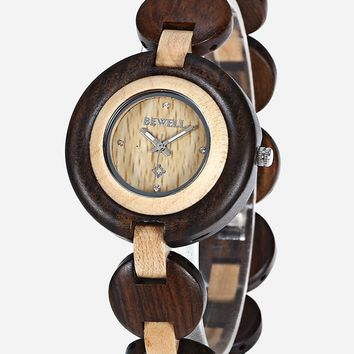BEWELL ZS-010A Women Wooden Watch Analog Quartz Movement Fashion Causal Wristwatch