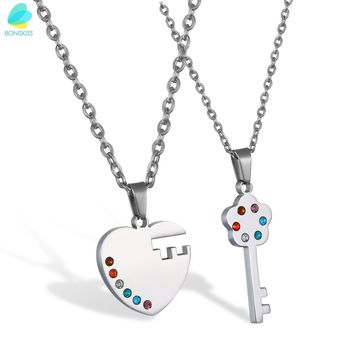 Couple's-Stainless Steel- Matching Pendant Lock And Key Necklace- Rainbow Color Crystal Accents -With Chain.