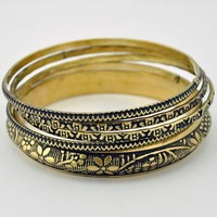 Engraved India Bangle Set