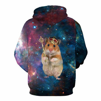 Cartoon Crown Mouse Print Sweatshirt Men/Women Hooded Hoodies 3d lovely Hoody Tracksuits With Cap Ca