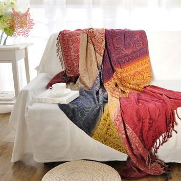 100%Chenille sofa cover sofa towel multi-color yarn dyed sofa/chair blanket slip-resistant vintage sofa cover Free ship SP1892