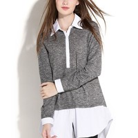 Women's Sweater with Attached Collar