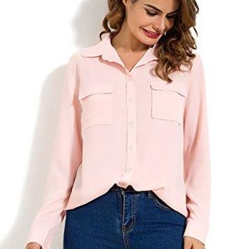 MOQUEEN Womens Long Sleeve Chiffon Blouses with Pockets Button Down Shirts Loose Casual Tops