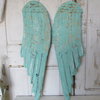 Angel wings wall hanging home decor hand painted distressed sea foam green wing set cottage chic aqua wood and metal anita spero design