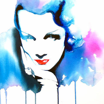 Film Noir 1930s Fashion Illustration Original Watercolor Painting Hollywood Glamour Blue Angle salon decor