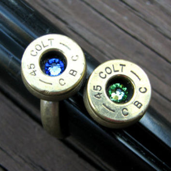 Bullet Ring- Birthstone Ring- Personalized- Couples Ring- Eco Friendly- His- Hers- Boyfriend- Girlfriend- Ammo Ring- Bullet Jewelry- Colt 45