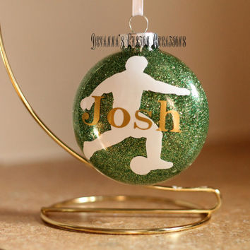 Personalized Glitter Soccer Ornament with Name (can add year also)