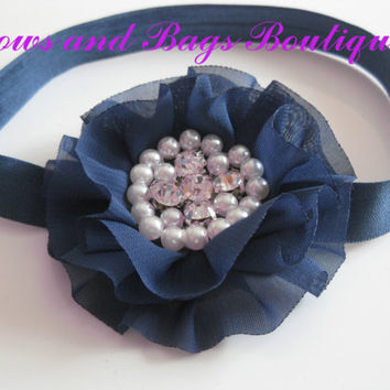 Girls navy blue headband - navy blue chiffon flower with rhinestone and pearl centre, toddler headband, hair accessories,newborn photo prop