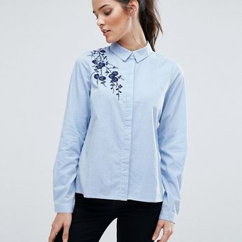 Vero Moda Embroidered Pinstripe Shirt at asos.com