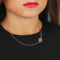 "Rose necklace, asymmetric necklace, coral necklace, 14k gold filled necklace, rose gold necklace, bridesmaid gift, flower necklace, ""Kabeiro"