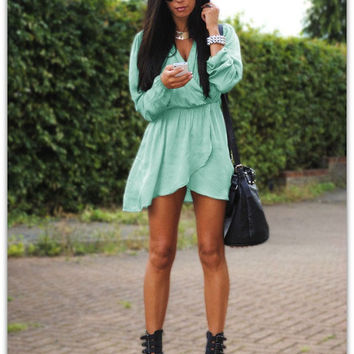 Green Long Sleeve Tulip Waist Dress