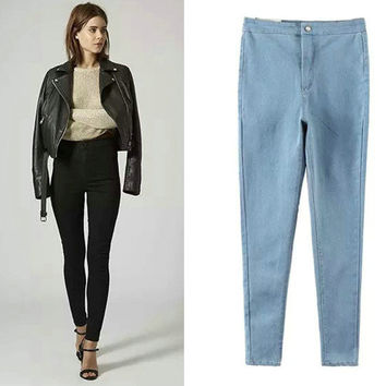 Classics High Rise Denim Pants Stretch Slim Pencil Pants Skinny Pants [4918732804]