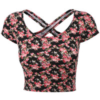 LE3NO Womens Lightweight Open Back Scoop Neck Floral Crop Top with Stretch