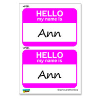 Ann Hello My Name Is - Sheet of 2 Stickers