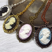Cameo Lady Necklace in Black, White, Lavender or Blue