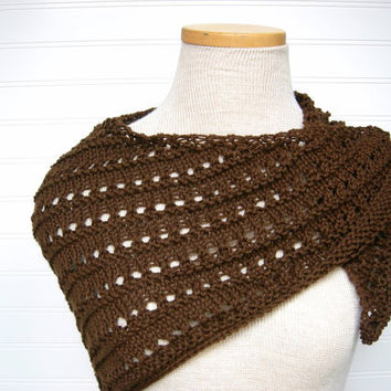 Knit Lace Shawl Dark Chocolate by WindyCityKnits on Etsy
