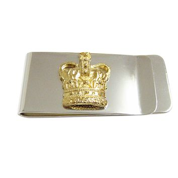 Gold Toned Large Full Crown Money Clip