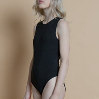 Vintage 90s Basic Black Sleeveless Bodysuit | S