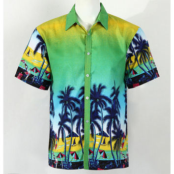 Hot LARGE SIZE Men Aloha Shirt Cruise Tropical Luau Beach Hawaiian Party Palm Gradient green  plus fat version
