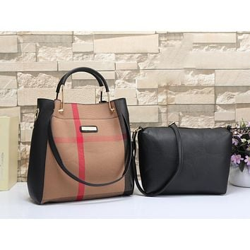 Burberry Women Leather Shoulder Bag Satchel Tote Handbag Crossbody Two Piece Set