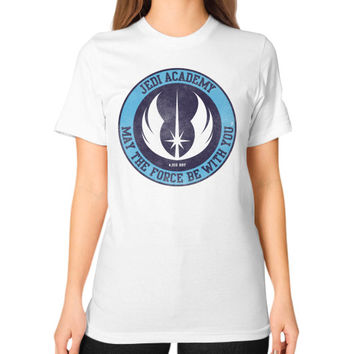 Jedi Academy Est 4019 BBY Unisex T-Shirt (on woman)