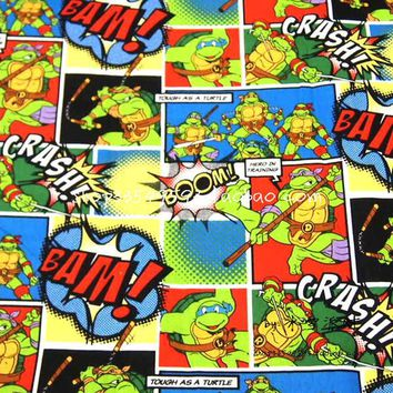 105X100cm Green Comic Patch Ninja Turtles Full Color Cotton Fabric for Baby Boy Clothes Hometextile Patchwork DIY-AFCK404
