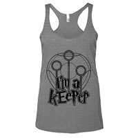 Harry Potter I'm A Keeper Womens Athletic Grey Racerback Tank - Graphic Tee - Clothing - Gift