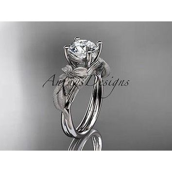 Platinum leaf and vine engagement ring  ADLR189