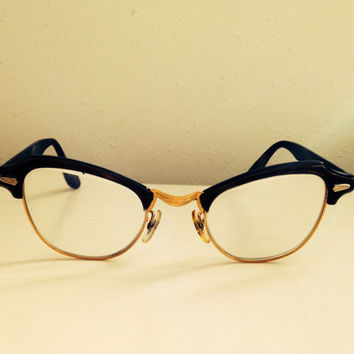 Vintage Cats Eye or Horn Rimmed Glasses Brown with Gold RIms