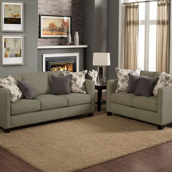 A.M.B. Furniture & Design :: Living room furniture :: Sofas and Sets :: Sofa Sets :: 2 pc Aura bewitch fabric upholstered sofa and love seat set with square arms