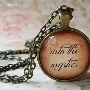 Into the Mystic, glass dome necklace, glass pendant, gift idea, wedding party, bridesmaids, favor idea, key ring, Van Morrison, First Dance