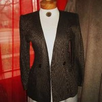 CHRISTIAN DIOR Jacket W POCKETS BLACK/TAN  WOOL Lined SIZE10 !  MADE IN USA