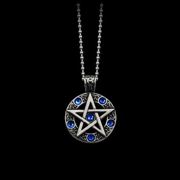 HOMOD Vintage Witch Necklace Gothic Pewter Pentagram Pentacle Pagan Wiccan Pandent Necklace for Men Jewelry Friend Gift WC0148