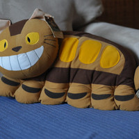 Vintage My Neighbor Totoro plush cat bus pillow-  Vintage Studio Ghibli, Tonari no Totoro, nekobus, neko bus plush pillow