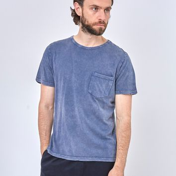 The Idle Man Indigo Dyed Boxy Pocket T-Shirt Blue